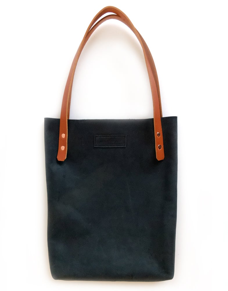Image of Blue Black Leather Tote Bag