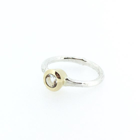 Image of herkimer diamond quartz engagement ring