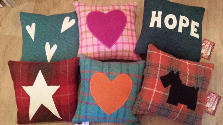 "Image of 12"" Harris tweed cushion"