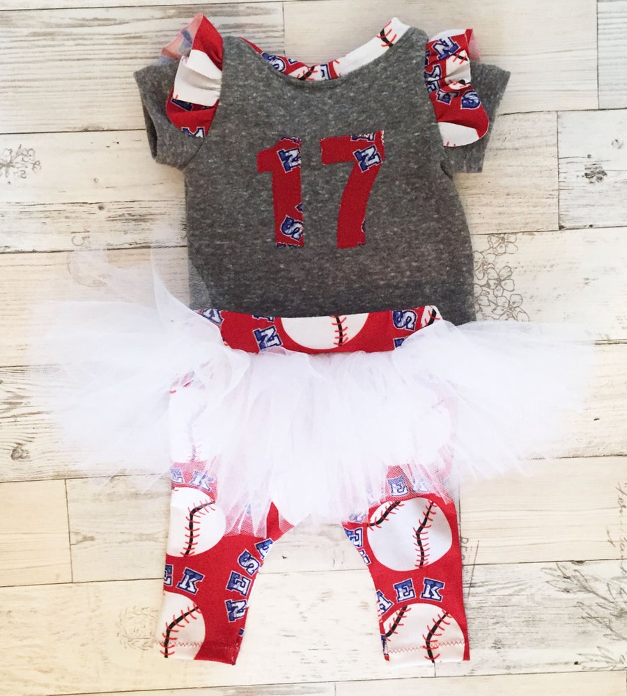 Image of Custom Ruffle Shirt and Tutu Skirted Leggings - Baseball Custom