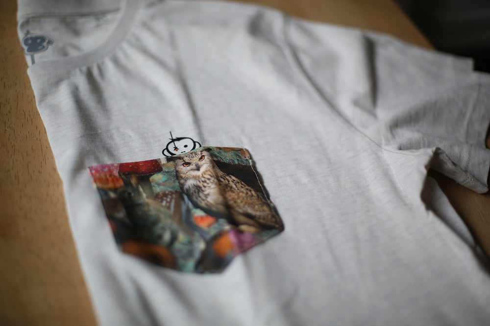 Image of Monkey Climber Night Owl pocket tee or crew I Black - Cream Heather Grey