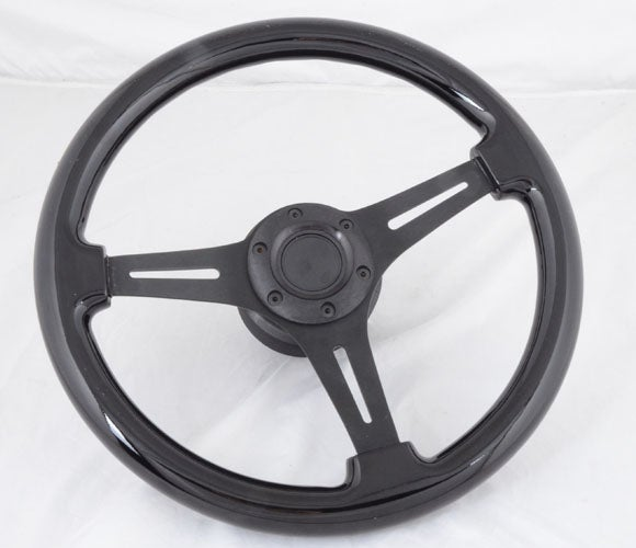 "Image of 350mm ""MURDERED OUT "" Triple Black Steering Wheel/Quick Release/Short Hub Combo"