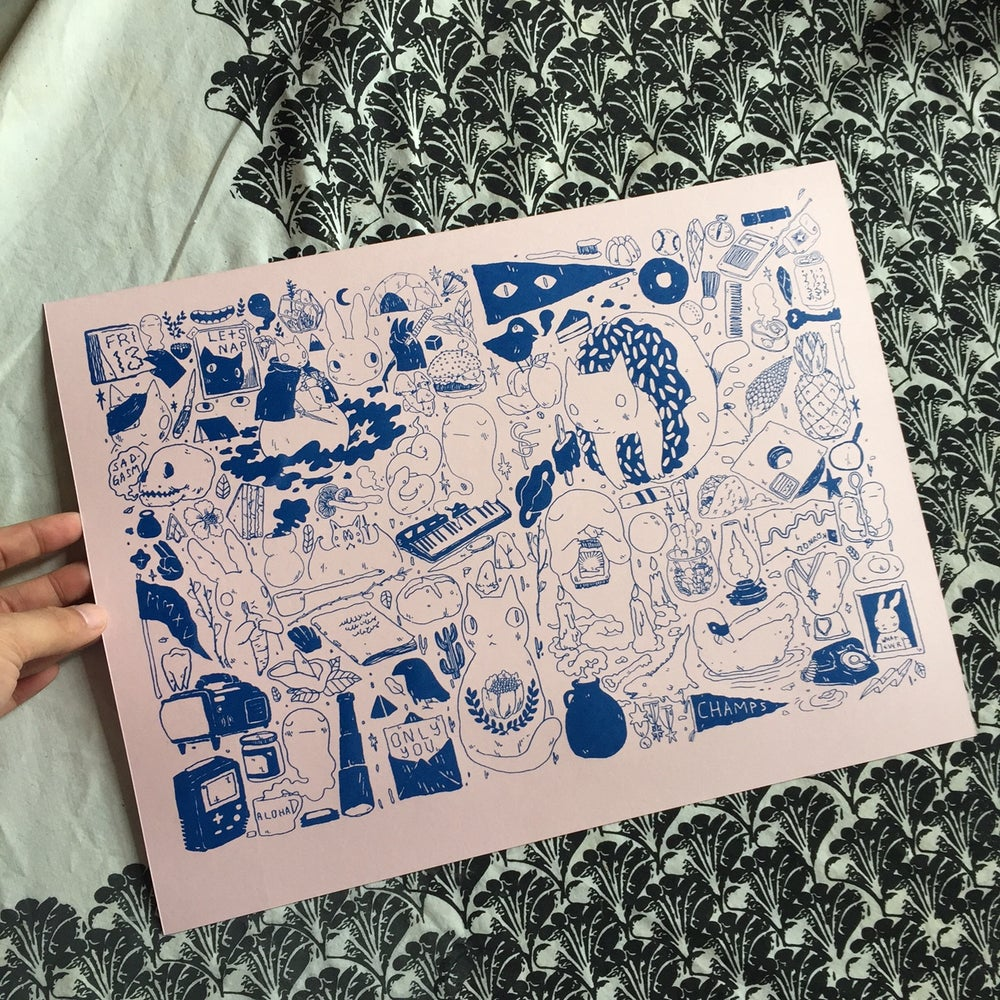 Image of Come Alone Print Blue/Pink