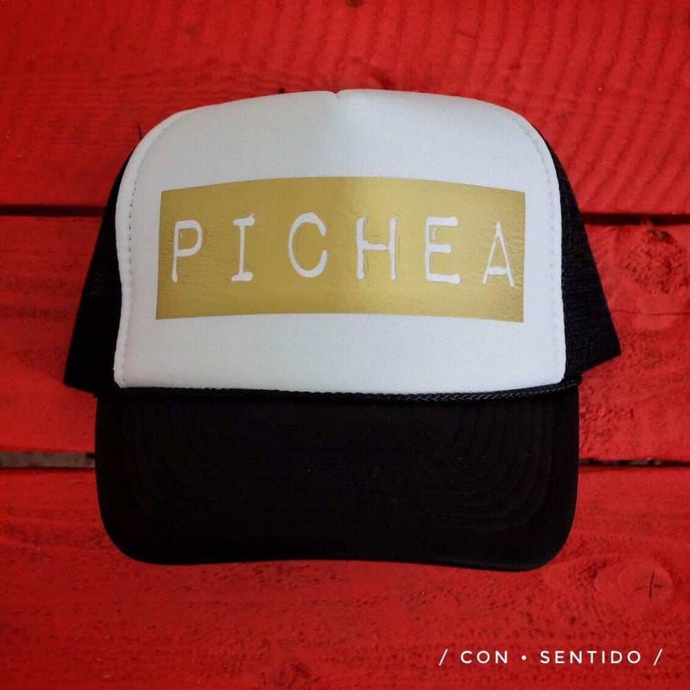 Image of Pichea Trucker Hat - Black/White & Gold
