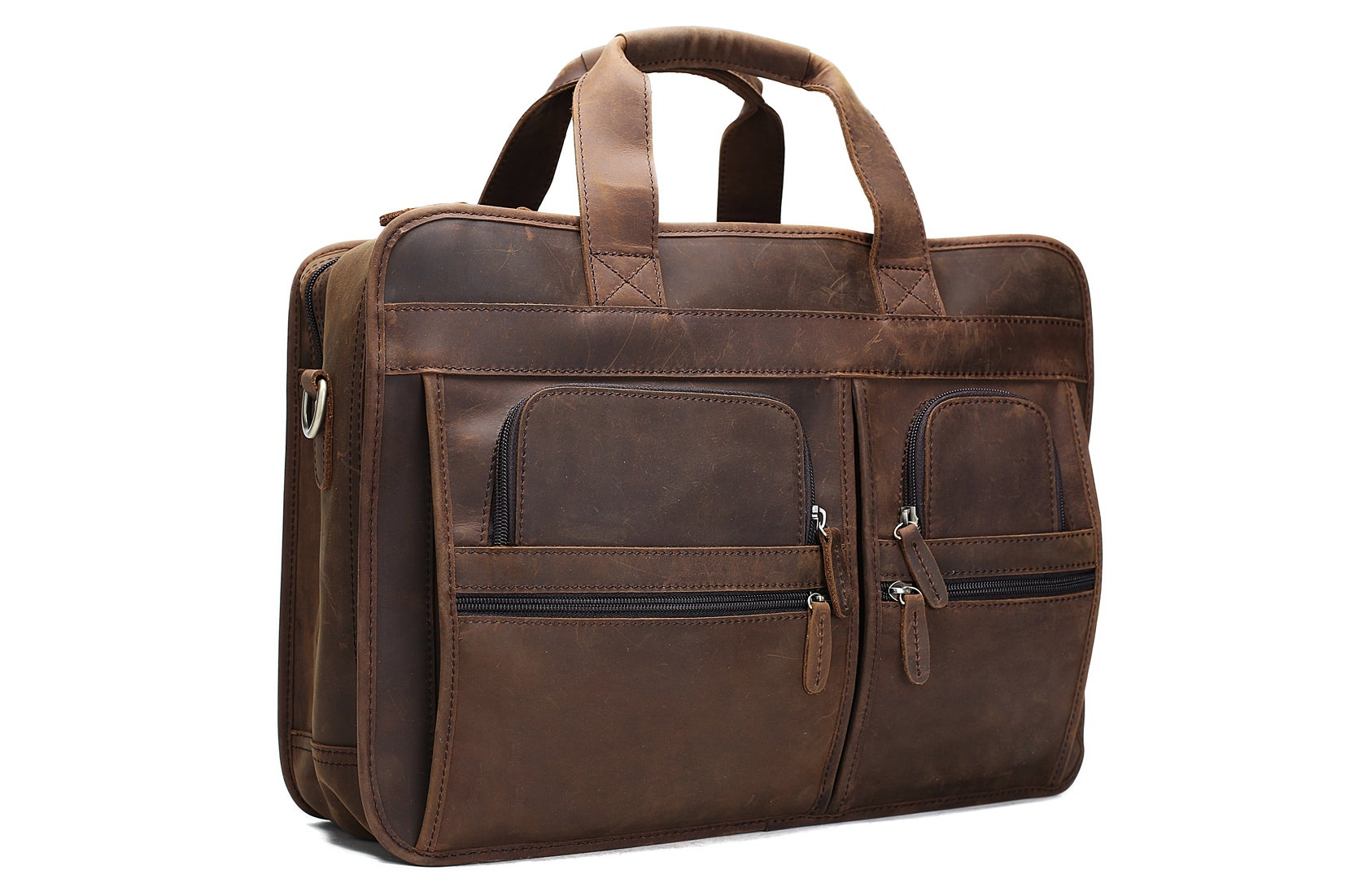 5a88ccff9e84 Handmade Genuine Leather Luggage Bag Travel Bag Laptop Briefcase DZ11