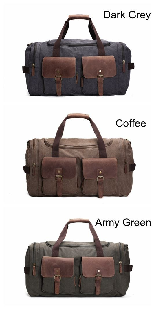 Canvas Leather Overnight Duffle Bag Canvas Travel Tote Duffel Weekend Bag  Luggage AF14 e2947f08cf