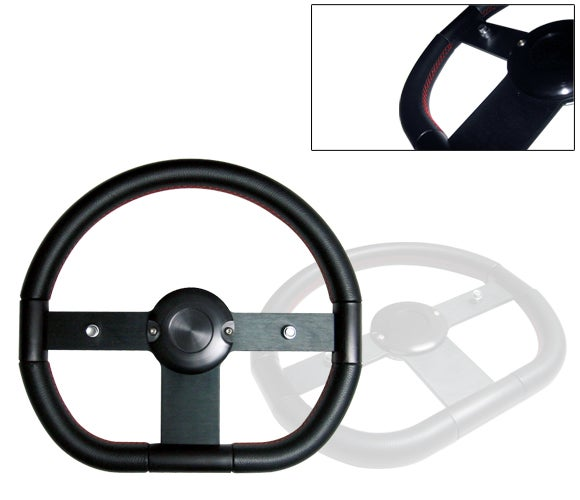 """Image of 350mm Steering Wheel """"Flat Bottom"""" With Red Stitching"""