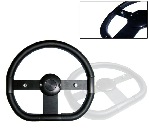 "Image of 350mm Steering Wheel ""Flat Bottom"" With Blue Stitching"