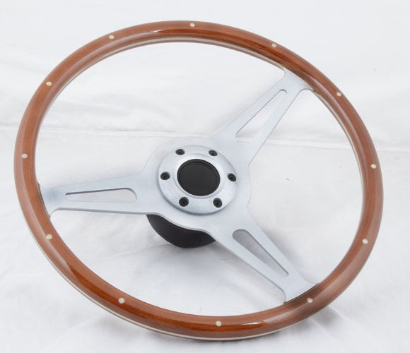 "Image of 380mm Steering Wheel ""Sport Classic"" With Riveted Wood Grain Grip"
