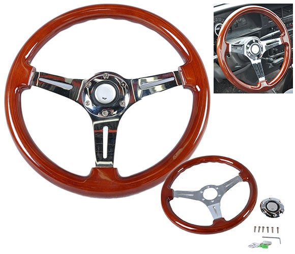 "Image of 350mm - Steering Wheel ""Classic Wood Grain"" With Polished Center Section"