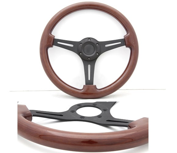 "Image of 350mm Steering Wheel ""Sport Wood Grain"" With Powder Coated Black Center Section"