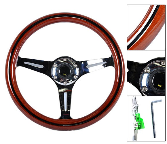 "Image of 350mm Steering Wheel ""Classic Wood Grain"" With Polished Center Section & Black Stripe"