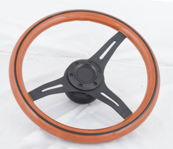"Image of 350mm Steering Wheel ""Sport Wood Grain"" With Powder Coated Center & Black Stripe"
