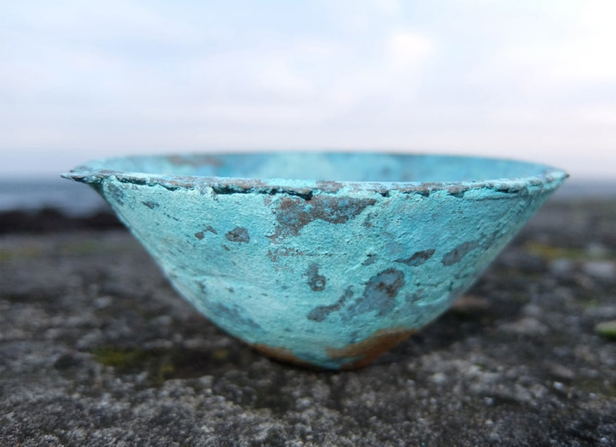 Image of Open bowl, cast in bronze, with patina.