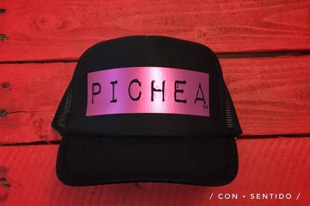 Image of Pichea Trucker Hat Black Metallic Pink