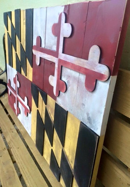 Image of Medium Traditional Maryland Flag with Crosses