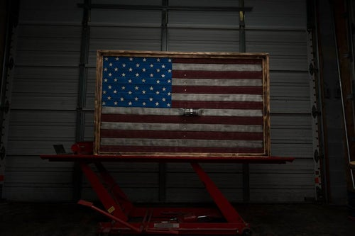 Image of American Flag Made from Fire Hose