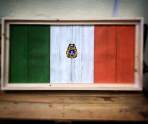 Image of Irish and other Country Flags made from retired Fire Hose