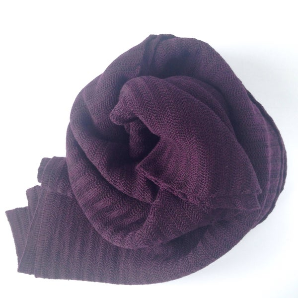 Image of Fishbone Pattern Scarf // Dark plum
