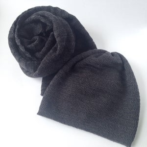 Image of Fishbone Pattern Scarf // Dark grey