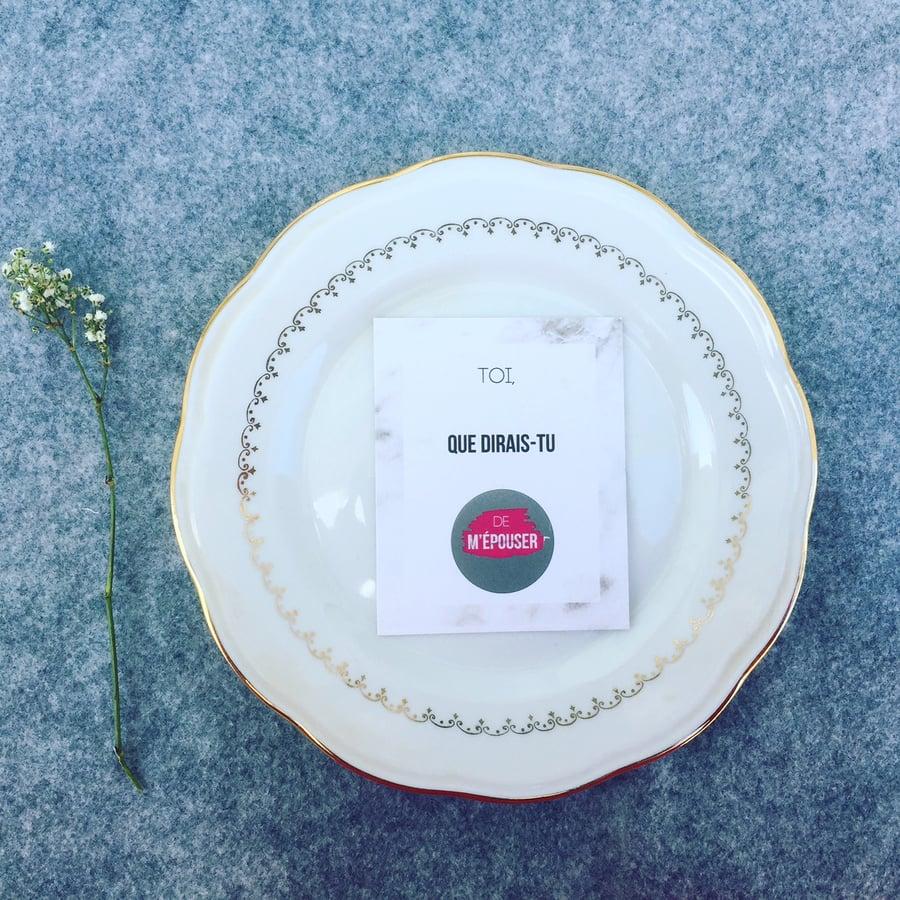 Image of Carte à gratter marbrée - Demande en mariage