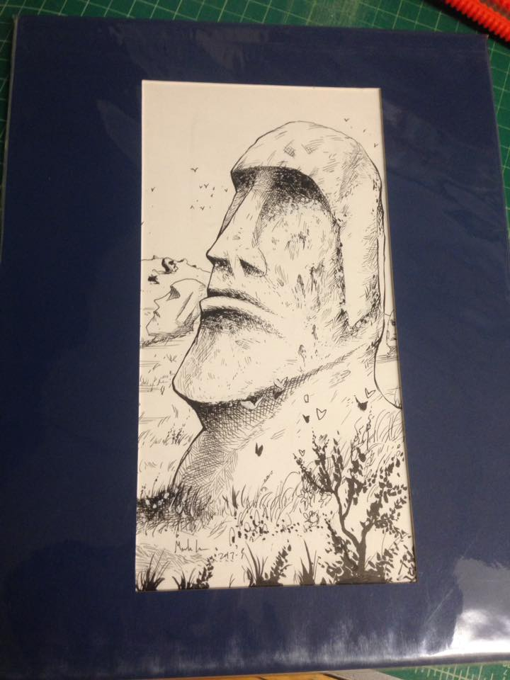 Image of EASTER ISLAND inked drawing