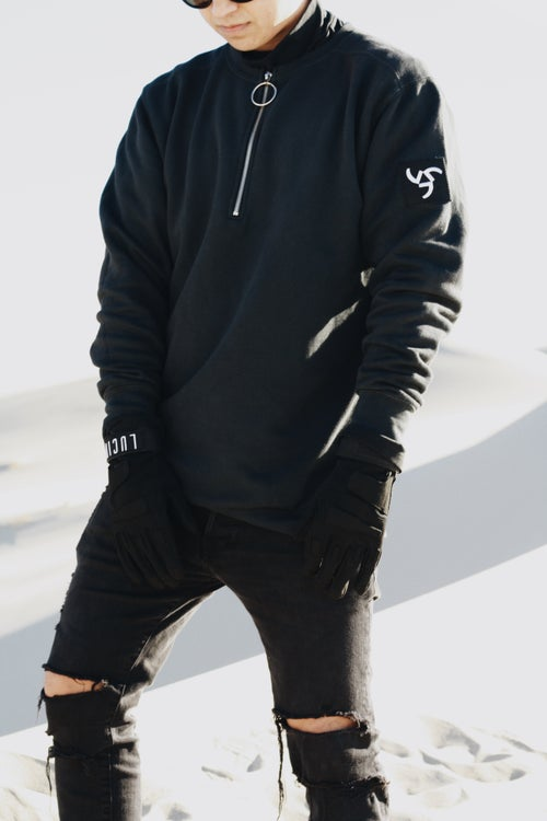 Image of NOIR QUARTER ZIP SWEATER