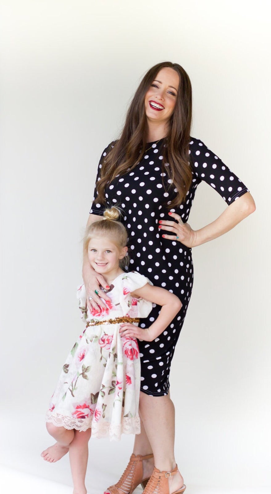 Image of Women's * Black with white Polka Dots* Knot Knit Dress