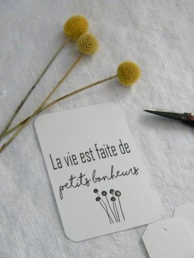 Image of Etiquette cartonnée La vie est faite ...