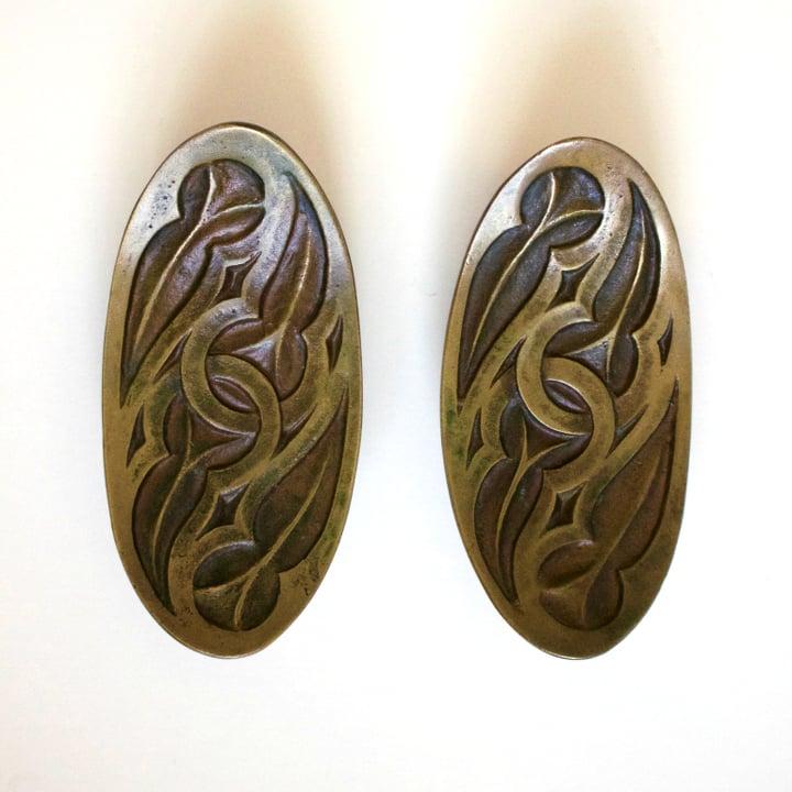 Image of Set of Curved Bronze Door Handles, Italy
