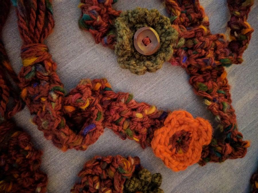 Image of Boho Flower Wibbly Wobbly Statement Scarf