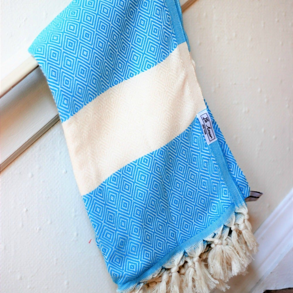 Image of Turquoise Classic Diamond Towel
