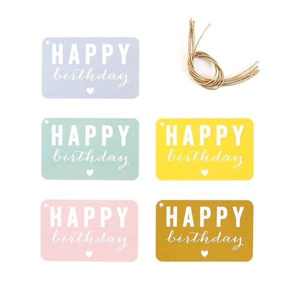Image of 5 ETIQUETTES CADEAUX / HAPPY BIRTHDAY / COEUR / 5 COLORIS