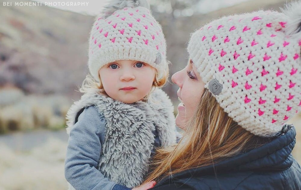 Image of Mini heart pompom beanie