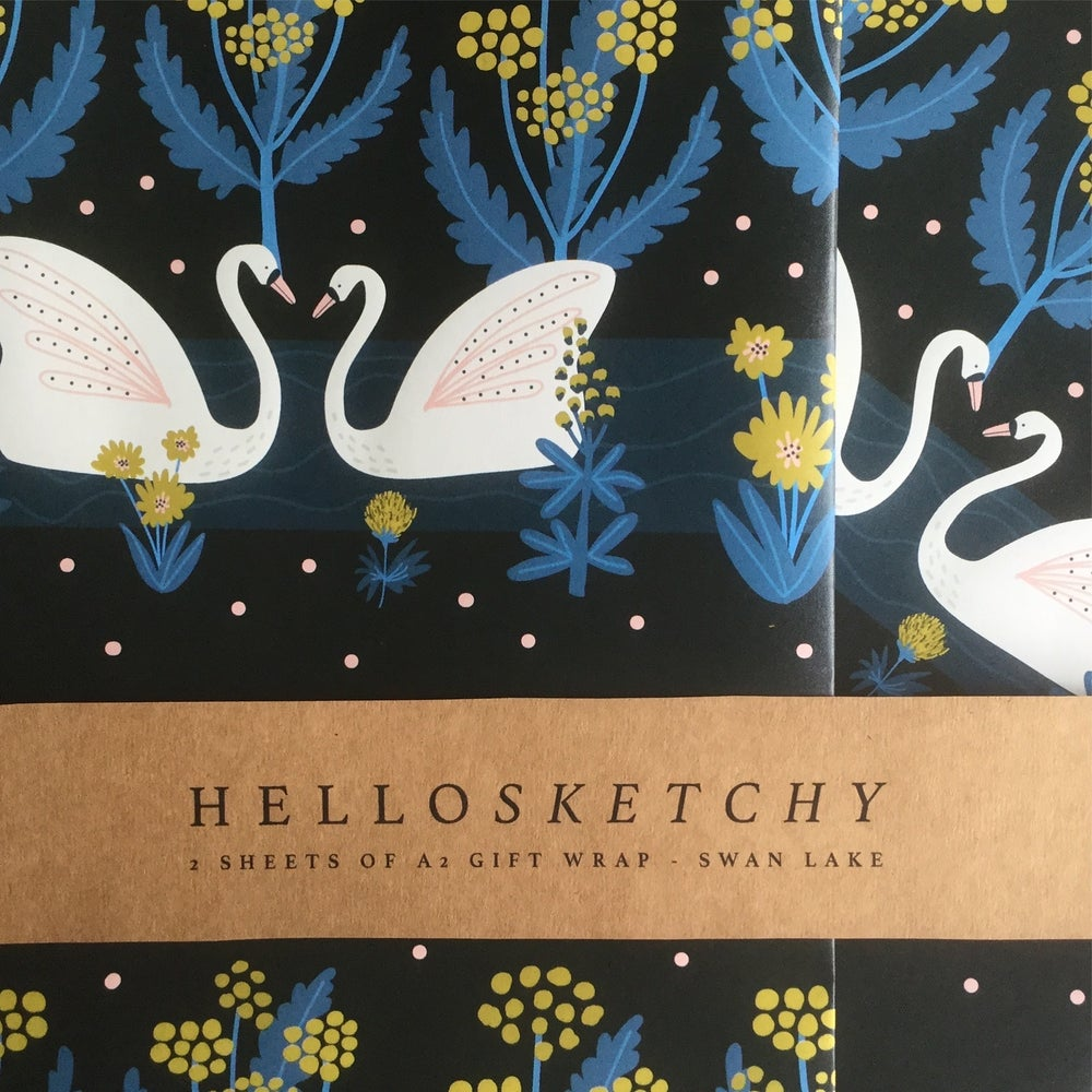 Image of 2 sheets of A2 swan lake gift wrap