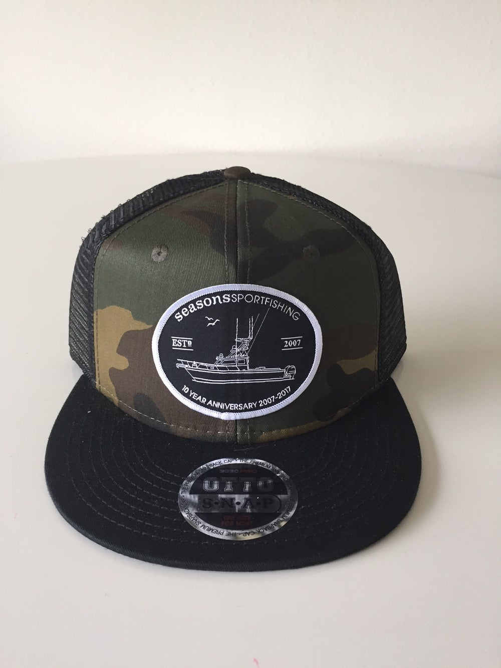 Image of SEASONS - CAMO / BLACK MESH SNAP BACK - 10 YEAR ANNIVERSARY