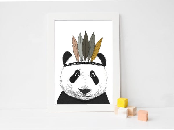 Image of Affiche Panda Indien A3