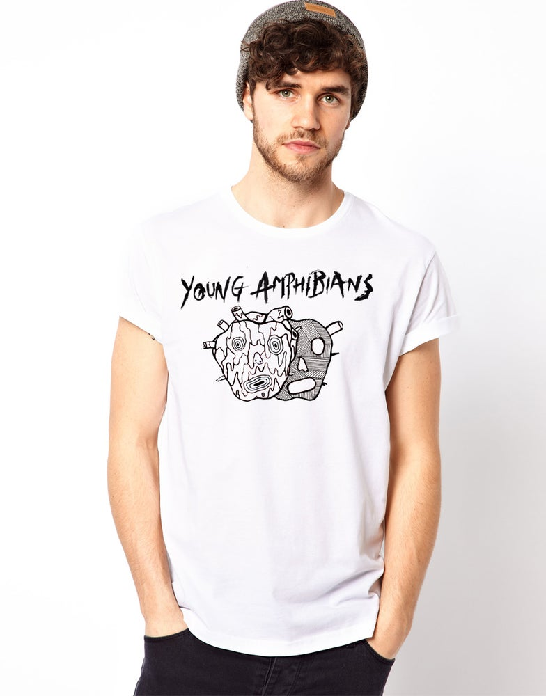 Image of Young Amphibians - Junked Up Heart - White T-shirt