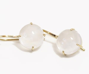 Image of White Chalcedony Cabochon Minimal Earrings 18k