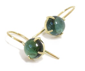 Image of Tourmaline Round Cabochon Minimal 18k Earrings
