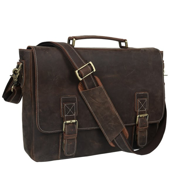 "Image of Men's Handmade Vintage Leather Briefcase / Messenger / 15"" MacBook Pro 15"" 16"" Laptop Bag (n14L)"