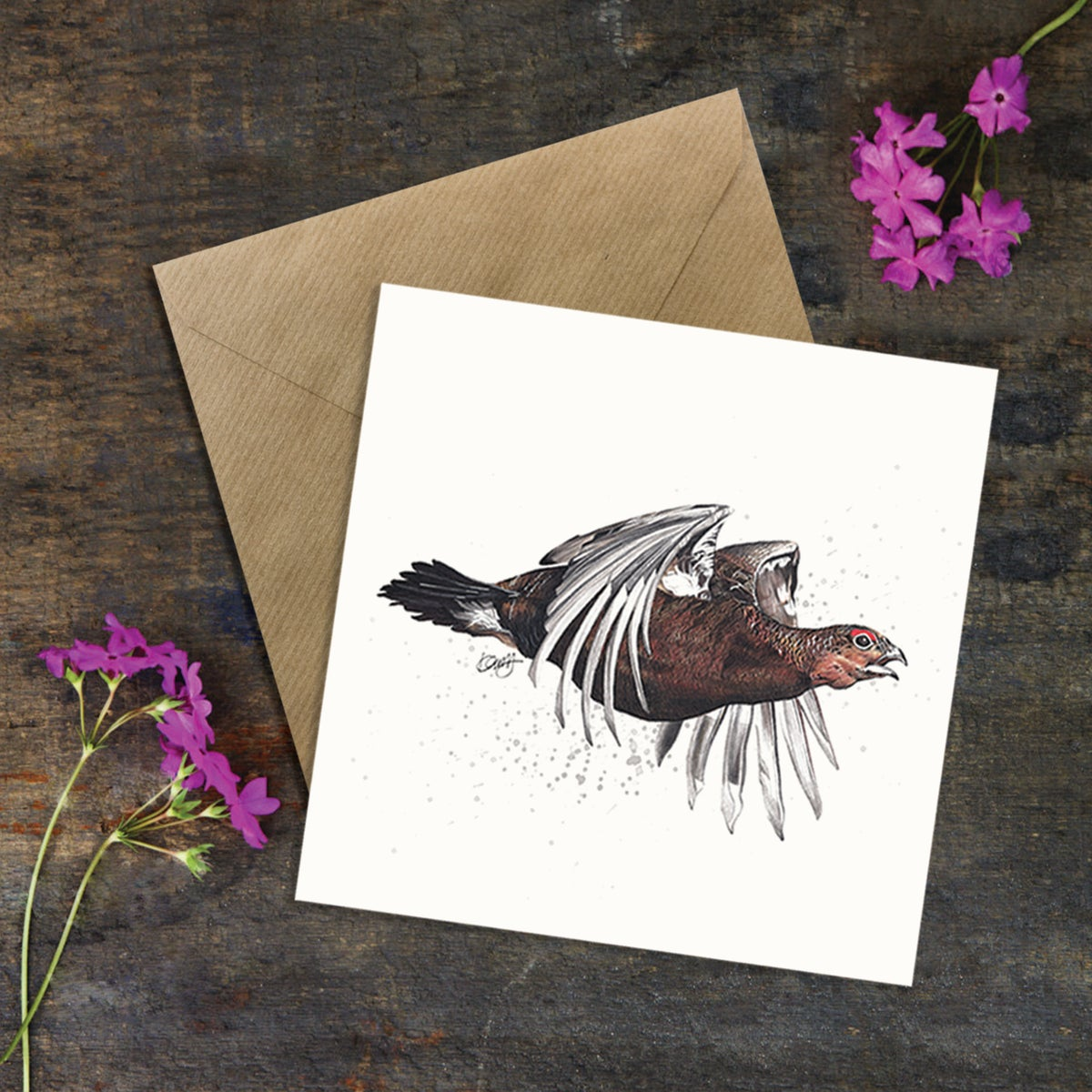 "Image of ""Flying Red Grouse"" Square Greeting Card"