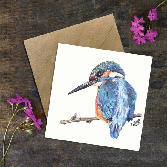 "Image of ""ELVIS THE KINGFISHER"" GREETING CARD"