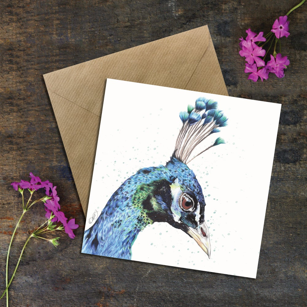"Image of ""Blossom the Peacock"" Greeting Card"