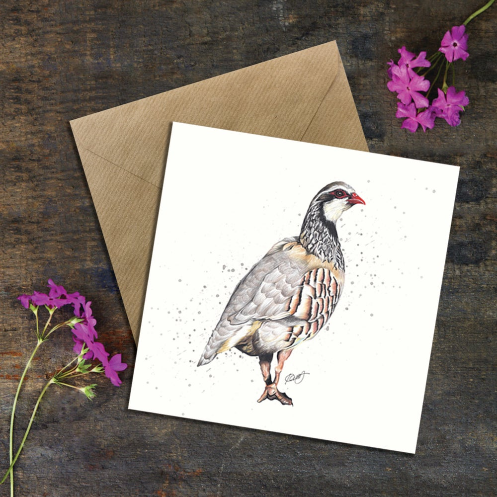 "Image of ""FRENCH PARTRIDGE"" SQUARE GREETING CARD"