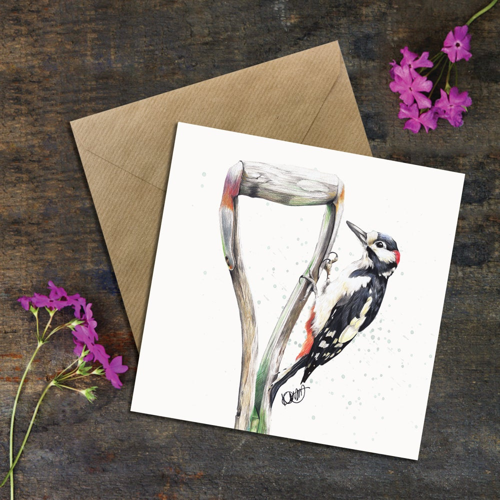 "Image of ""GREGORY The Woodpecker"" GREETING CARD"