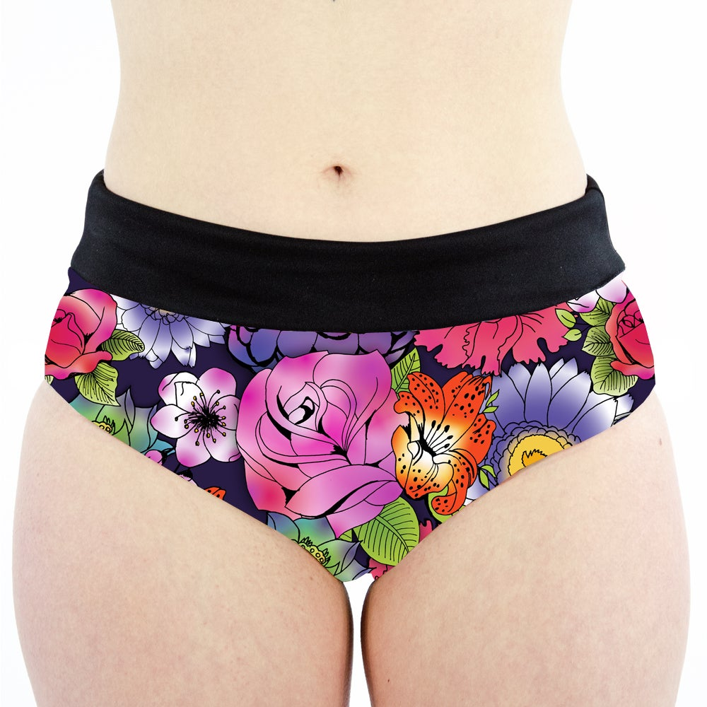 Image of Tattoo Floral High Waisted Cheeky Shorts