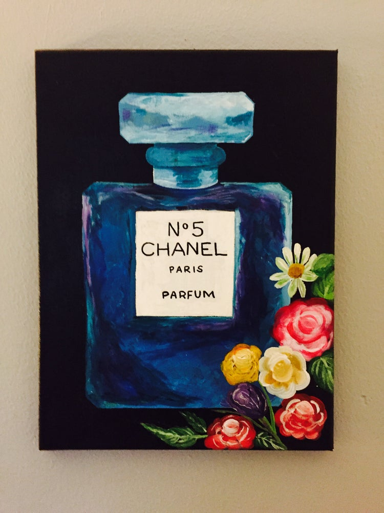 Chanel No 5 Parfum Acrylic Painting Canvas Artwork Lakshmi Home Decor