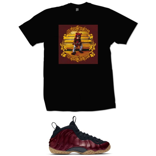 Image of KANYE COLLEGE DROP OUT MAROON FOAMPOSITE T SHIRT - BLACK