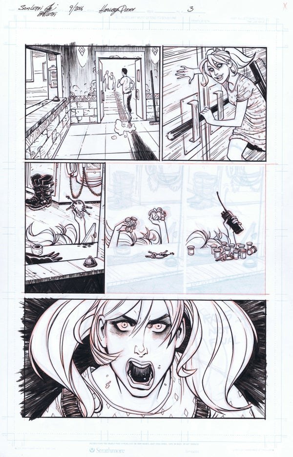 Image of DC NEW TALENT SHOWCASE HARLEY QUINN PAGE 3 ORIGINAL ART